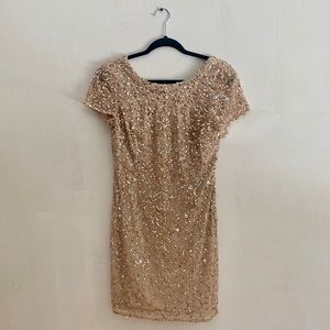 Adrianna Papell Gold Sequin dress (8)